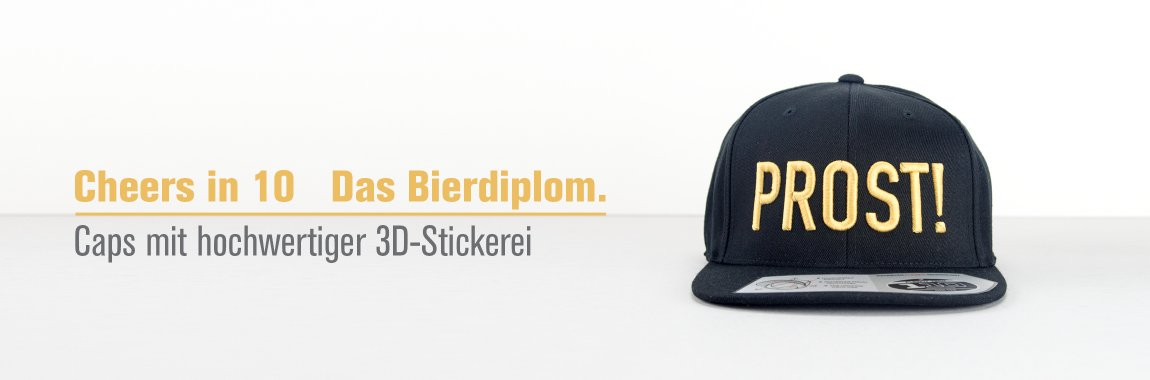 Cheers in 10 - Bierdiplom - Cap mit 3D Stickerei